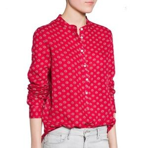 Mango Light Mao Collar Printed Cotton Blouse NWT